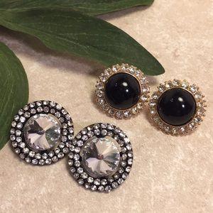 Jewelry - Bundle 2 large bling jeweled stud earrings